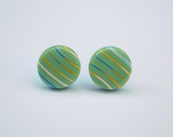 Small Round 13 mm Stud Earrings, polymer clay earrings, green yellow blue white strips