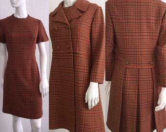 Fantastic Vintage 1960s 1970s Wool Plaid Dress and Coat Set with Great Pleated Back on the Coat