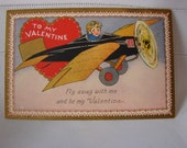 Great Gold Leafed Valentine Day Postcard with Prop Plane and Pilot with Goggles 1920-30's