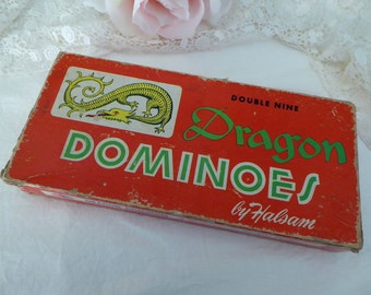 Vintage Dragon Dominoes Double Nine by Halsam, Old Dragon Dominoes Set in Box
