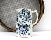 Antique White Ironstone Pitcher - White with Blue Transferware Milk Pitcher - Poppies -  Cobolt Blue