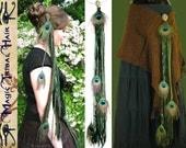 Tribal Fusion Belly Dance PEACOCK FEATHER hip hair TASSEL Forest Elf yarn falls Fantasy hip scarf adornment Fairy reenactment Renfair Larp