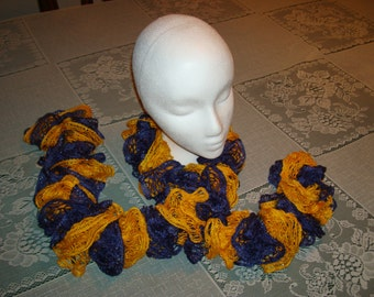 Hand knitted ruffles scarf done in the San Diego Chargers Team colors