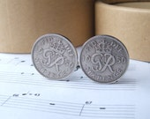 Lucky Sixpence Cuff links. Gift Boxed Handmade Cuff links Dated 1950.