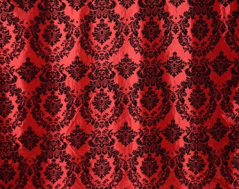 Damask taffeta velvet flocked red dress home decor apparel curtains by the yard