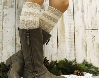 lace boot sock tall knit  -FREE SPIRIT -eco friendly- cozy recycled yarn-knee sock  womens- lace cuff socks -Catherine Cole Studio BKS1204