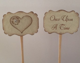Set of 12 Double-Sided Once Upon A Time ~ Happily Ever After ~ All You Need Is Love - Mr & Mrs - Cupcake Picks ~ Food Picks