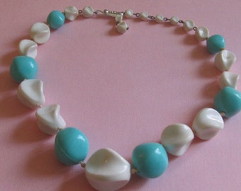 Vintage Turquoise and White Plastic Beaded Necklace - Marked GERMANY