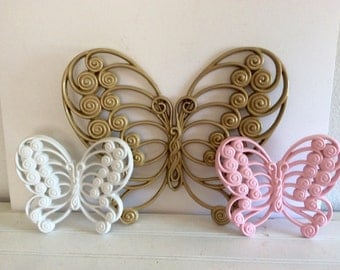 Pink Gold White Butterflies - Set Of 3 - Vintage Burwood - Girls Room -Baby Girls - Shabby Cottage Chic - Baby Girls Nursery - Wall Decor