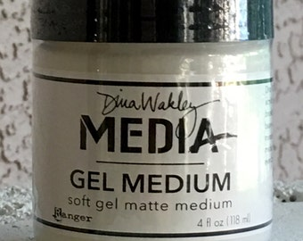 Dina Wakley Gel Medium by Ranger 4 fl oz., soft gel matte, for mixed media, canvas painting, art journaling, card making, watercolor