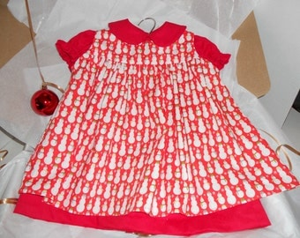 Size 12 Months, Red Cotton Dress with Pinafore