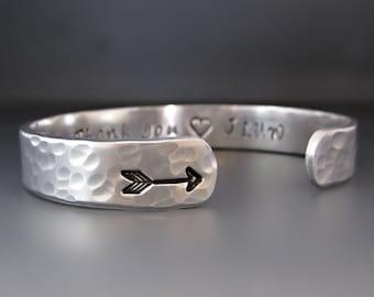 Silver Arrow Cuff Bracelet / Custom Personalized Arrow Bracelet / Follow your arrow / Hand Stamped / Gifts for her / Graduation Gifts