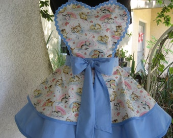 Smitten Kitten Womens Retro Apron Blue