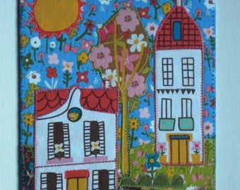 House Village Birthday Mom HimHer Friend MADE TO ORDER Housewarming Thank You Gift Frame Hello 5x7 Fabric Appliqued Art Quilt Large Postcard