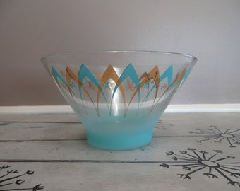 Atomic Turquoise Bowl Serving Bowl Blendo Punch Bowl Reto Kitchen Anchor Hocking Bowl Gold and Turquoise Salad Bowl