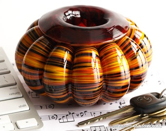 Hand Blown Glass Bowl - Bulging Ribs with Hot Color Streaks
