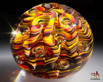 Hand Sculpted Glass Paperweight - Contoured Dark Hot Color Swirls with Ribs and Bubbles - Oval Profile