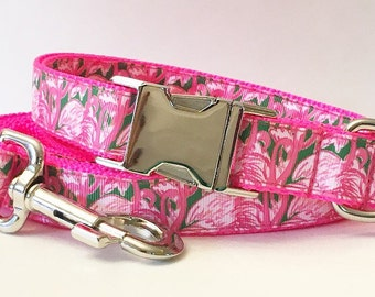 Pink Colony Lilly Pulitzer Inspired Dog Collar / Lilly Pulitzer Inspired Dog Leash in Pink Colony