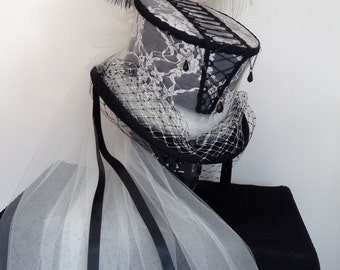 Victorian gothic corset black and Ivory lace wedding hat