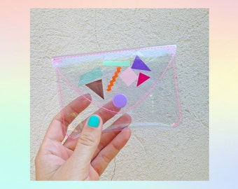 Transparent wallet - clear coin purse - clear card holder - 80's geometric pouch - colorful wallet - 90's fashion - boho gift