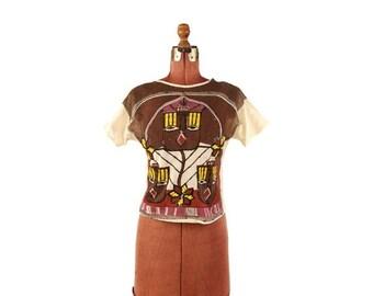 ON SALE Vintage 1980's Sheer Cotton Mesh Ethnic Aztec Sequin Mini Crop Brown + Cream Top Shirt Blouse M