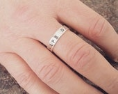 Men's Silver Ring Sterling Silver Band Initials Ring - 5mm Personalized - Promise Ring - Sterling Silver 925 - Secret Message Ring