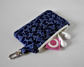 Woman's key chain coin pouch padded gadget change purse in triangle zig zag triangle print in two tone blue.