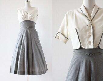 1950s Gingham Cotton Dress / 1950s Designer Dress / New Look Dress / 1950s New Look Dress / Black and White / Extra Small XS / 24 Waist