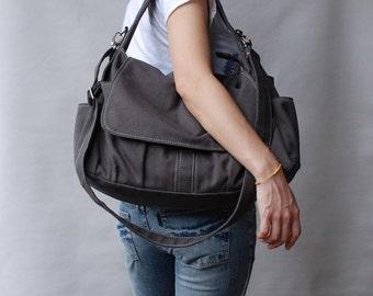 Halloween SALE - 30% Pico in Dark Grey (Water Resistant) School Bag / Shoulder Bag / Messenger Bag / Diaper Bag/Diaper Bag/ School Bag/ Wome