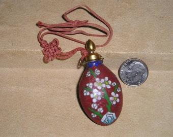 Antique Victorian Baked Enamel Perfume Bottle Holder For Wrist FOB Bracelet Flower Pattern 1890's Jewelry 2038