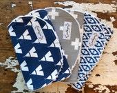 Burp Cloths - Navy Teepee, Grey Cross, Navy Aztec - Set of 3 - Tribal, Indian