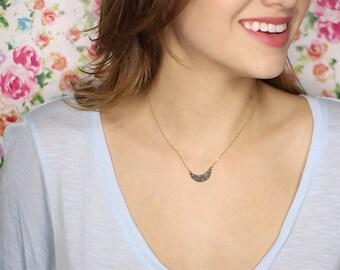 Crushed Crystal Druzy Half Moon Necklace