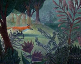 Giclee Print - Fox in the Forest - Nursery Art - Children Decor - Home Decor - Wall Art
