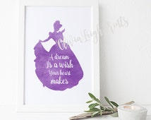 Disney Princess Cinderella, Word Quote, Watercolour Poster, Childrens Nursery Print, Printable Gift Wall Art, Instant Download
