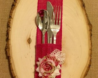 Hot Punk Fuchsia Burlap Silverware Holder with floral fabric flower - Set of 4 Easter Spring Summer