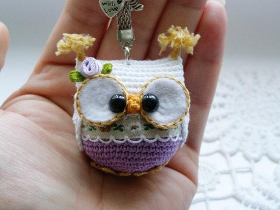 Amigurumi Owl Keychain : Owl keychain crochet owl key chain amigurumi owl toy bag
