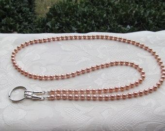 Rose Peach ID Badge Lanyard Swarovski Pearl Beaded Lanyard Pink Rose Peach Lanyard Necklace ID Badge Holder