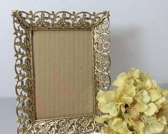 Gold Filigree Picture Frame Table Top 5 X 7, Gold Metal Frame, Wedding Decor, Ornate Photo Frame