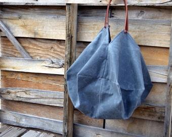The Bohemian- Waxed Canvas Tote Bag-  Beach Bag- Craft Tote