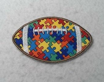 Football Autism Awareness Puzzle Piece (large) Tutu & Shirt Supplies - fabric iron on Applique Patch 7928