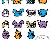 Cute Kawaii Animals - bunny penguin panda kitty cat narwhal purple yellow blue - Kawaii - jpg and png files  Instant Download