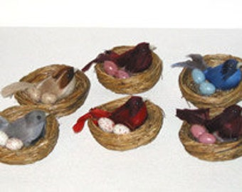 6 pc Feather Bird in Nest w/Eggs (Florence), Baby Shower Favor, Party Decorating, Floral Arranging