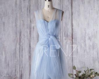 2016 Baby Blue Convertible Bridesmaid dress, Short wedding dress, Sweetheart Halter Party dress, Formal dress, Maxi dress knee (GS070B)