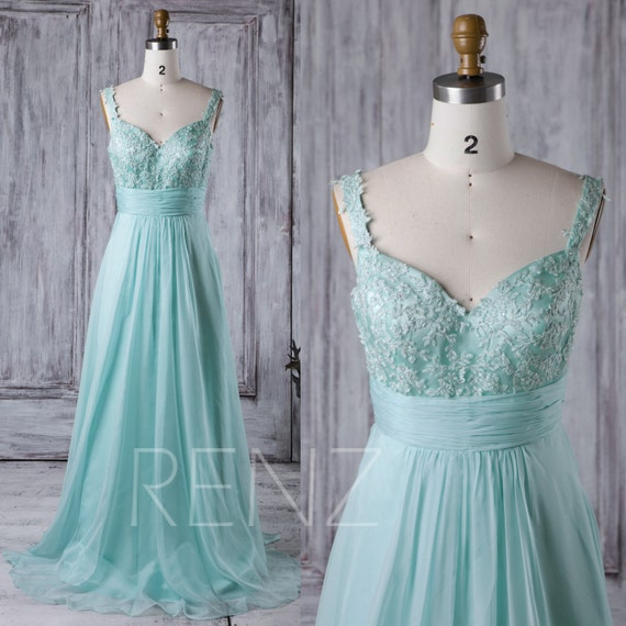 2017 Light Teal Chiffon Bridesmaid Dress Lace by RenzRags ...