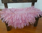Pink Felted Curly Wool Fluff Layer/ Mat/ Basket Stuffer Photo Prop, Wool Baby Blanket, READY TO SHIP