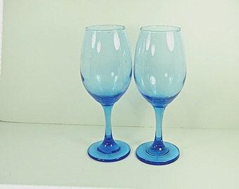 Vintage COBALT WINE GOBLET Blue Set/2 Libbey Barware Glass