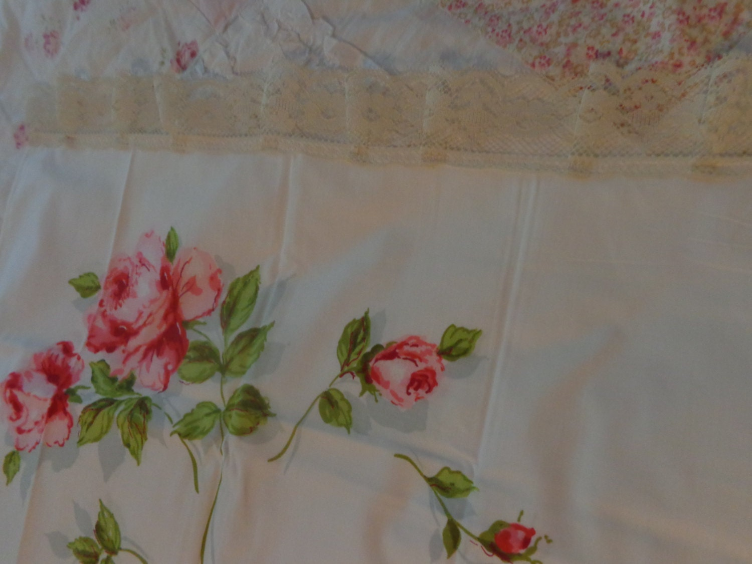 VINTAGE pair standard pillowcases so shabby chic pink