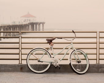 Vintage Bicycle at Manhattan Beach, South Bay Photography, Manhattan Beach Photography Prints, Beach Art, Beach Decor, Los Angeles Canvas