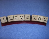 I Love You Upcycled Scrabble Tile Magnets with magnetic rack