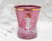 Fenton Cranberry Hand Painted Mary Gregory Glass Toothpick Holder